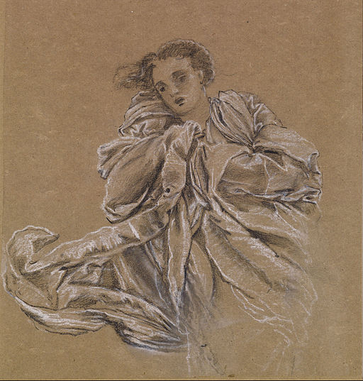 Edward Burne-Jones - Winter - Study of Flying Drapery - Google Art Project