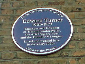 Peckham - London Borough of Southwark Blue Plaque awarded to famous motorbike designer Edward Turner unveiled in 2009 at his former residence, 8 Philip Walk, Peckham. Turner had run a motorbike shop, Chepstow Motors on Peckham High Street.