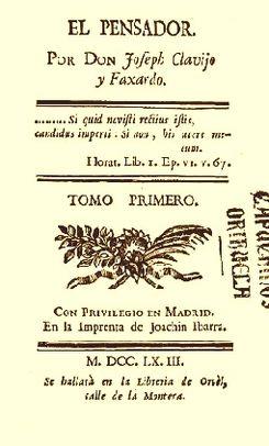 El Pensador, tomo primero, 1763.jpg