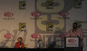 Elisha Cuthbert - Cuthbert and Joel Silver in promoting House of Wax at WonderCon in 2005