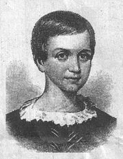 A drawing of the young Emily Dickinson, age nine. It was made from a portrait featuring Emily, Austin and Lavinia as children.