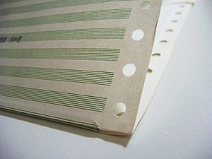 Continuous stationery - Preprinted green bar continuous form paper