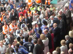 2007 FA Cup Final - Chelsea players collect the trophy, presented by Prince William