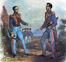 Portrait of San Martin and Bolívar talking