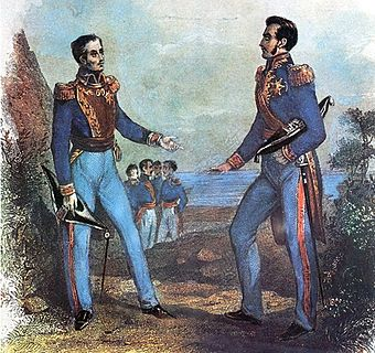"The ""Guayaquil Conference"" was the meeting between the two main Hispanic South American independence leaders. In it the form of government of the nascent countries was discussed, San Martin opted for a unified South America in the form of a monarchy, while Bolivar opted for the same but into a republic. 1843 painting. Entrevista de Guayaquil.jpg"