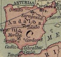 The Iberian Peninsula in 750. Note that the Muslim province included Narbonne, located in modern France.