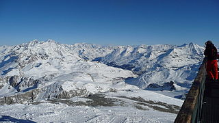 Tignes – Val dIsère ski resort of the combined skiable areas of Val dIsère and Tignes, France