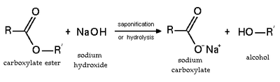 Ester saponification (basic hydrolysis)