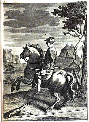 """Stratioti - French estradiot and his arms. Notice the short double-pointed spear (""""arzegaye""""). Engraving, 1724 (G. Daniel)."""