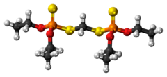 Ball-and-stick model of the ethion molecule