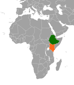 Map indicating locations of Ethiopia and Kenya