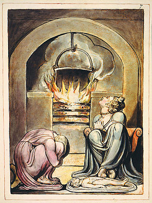 Cauldron -  A cauldron over a fire in William Blake's illustrations to his mythical Europe a Prophecy first published in 1794. This version of the print is currently held by the Fitzwilliam Museum