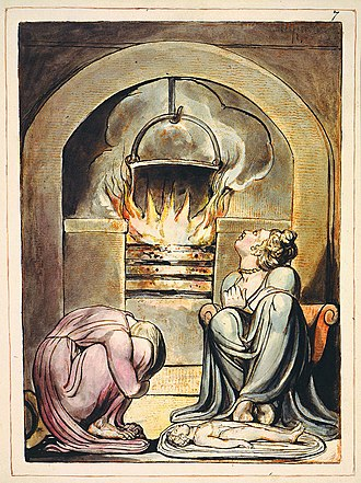 Hearth -  A cauldron over a fire in William Blake's illustrations to his mythical Europe a Prophecy first published in 1794. This version of the print is currently held by the Fitzwilliam Museum