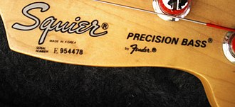 Squier - Example of a Serial Number on a Precision Bass made for Fender by Young Chang in Korea in 1995.