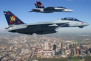 F-14B and FA-18F VF-VFA-11 over St Louis - 2005.jpg