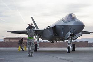F-35 Lightning II at Nellis Air Force Base 6 Mar 2013.jpg