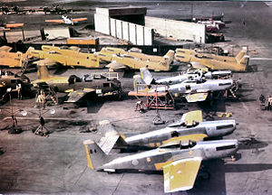 North American F-82 Twin Mustang - Twin Mustangs and two jet engined FJ-1 Furys in production at North American, 1948.