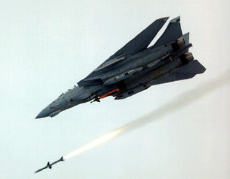 Grumman F-14 Tomcat - An F-14D launching an AIM-7 Sparrow; a GBU-10 Paveway II is also carried.