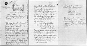 Lettera dell'allora dodicenne Fidel Castro scritta in inglese e inviata al presidente statunitense dell'epoca, Franklin D. Roosevelt, ai tempi in cui Castro studiava al Colegio de Dolores, a Santiago di Cuba