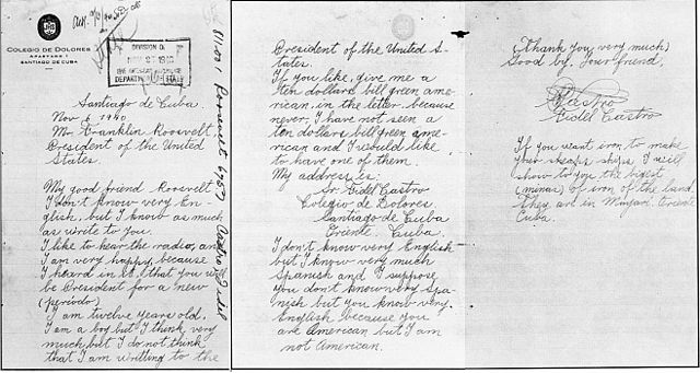 Письмо 14-летнего Фиделя Кастро президенту США Франклину Д. Рузвельту