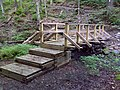 FLT M22 10.1 mi - Bridge, 20' long, 2x8x44 deck boards, telephone pole stringers, 4x4 verticals, 2x4 rails, stacked 6x6 sills (one rock filled), 4 steps, 4' to drainage - panoramio.jpg