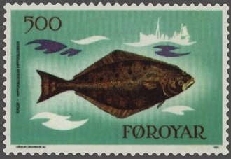 Halibut - Atlantic halibut (Hippoglossus hippoglossus) on a Faroese stamp