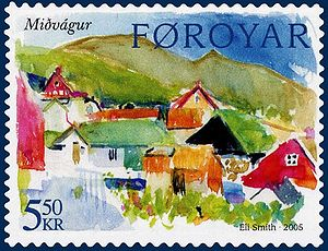 Postage stamp design - This 2005 stamp of the Faroe Islands is a typical example of modern stamp design: minimal text, intense color, artistic rendering of a country-specific subject.