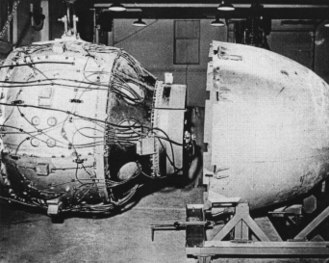 "Fat Man - Fat Man's ""physics package"" nuclear device about to be encased"