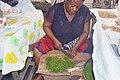 Femme découpant les feuilles d'okok au marché.jpg