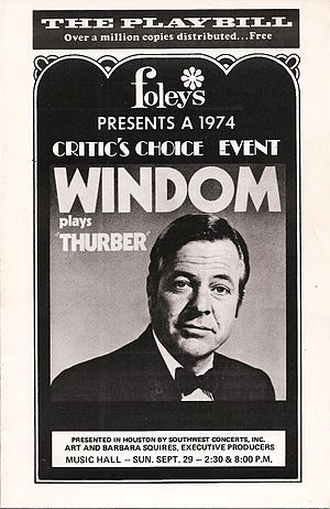 William Windom (actor) - Playbill: Windom Plays Thurber
