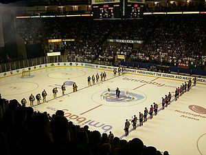 Nottingham Panthers - Nottingham and Cardiff line up prior to the 2007 playoff final