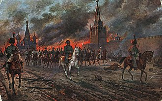 1812 in Russia - Napoleon retreating from the burning Moscow