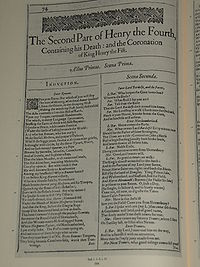 Faksimil av första sidan i The Second Part of King Henry the Fourth från First Folio, publicerad 1623