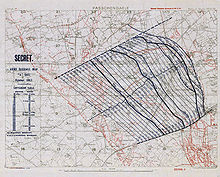 a topographical map with two dozen lines moving from east to west delineating the lines of the planned artillery barrage of the battle