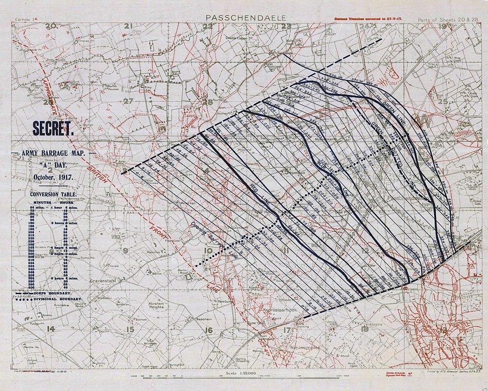 First Battle of Passchendaele - barrage map (colour balance)