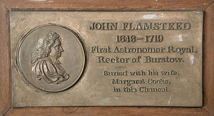 Memorial marking grave of John Flamsteed and his wife in the Chancel of St Bartholomew, Burstow Flamsteed wall memorial.jpg