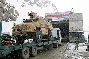 Salang Tunnel - American military convoy entering the Salang Tunnel. Nearly two miles above sea level, the Salang Pass connects the Parwan and Baghlan provinces of Afghanistan.