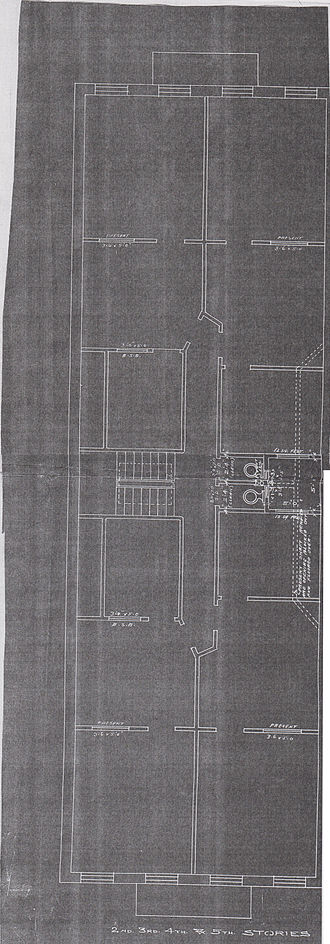 109 Washington Street - Floor plan of second, third, fourth, and fifth residential floors for the 1907 alteration by John J. O'Connor