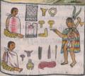 Florentine Codex Fol 8 telas transporte herramientas de metal tepoztli oro cuerdas.png
