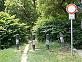 Forest path, traffic bollards, No entry road sign, Révész Street, 2020 Százhalombatta.jpg