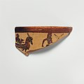 Fragment of a terracotta kantharos (drinking cup with high handles) MET DP121694.jpg