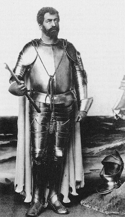 Francesco Tamagno as Otello in a costume designed by Alfred Edel for the original production Francesco Tamagno as Otello 1887 - Sadie 1992 4p639.jpg