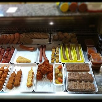 Friterie - A typical assortment of meats offered at a Belgian friterie.