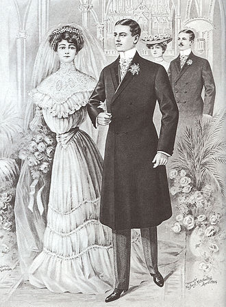 Frock coat - Double wedding with grooms wearing formal black frock coats with silk-faced lapels, light grey waistcoats, cashmere striped formal trousers, button boots, light gloves, and Ascot-knotted cravats with cravat pin (April 1904).