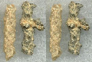 Fulgurite - Two Type I (arenaceous) fulgurites: a common tube fulgurite and a more irregular specimen.