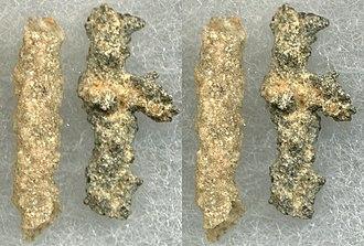 Fulgurite - Two Type I (arenaceous) fulgurites: a common tube fulgurite and a more irregular specimen.