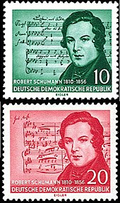 The East Germany 1956 Schumann/Schubert error: Schubert's music is on the top stamp, and Schumann's on the bottom (Source: Wikimedia)