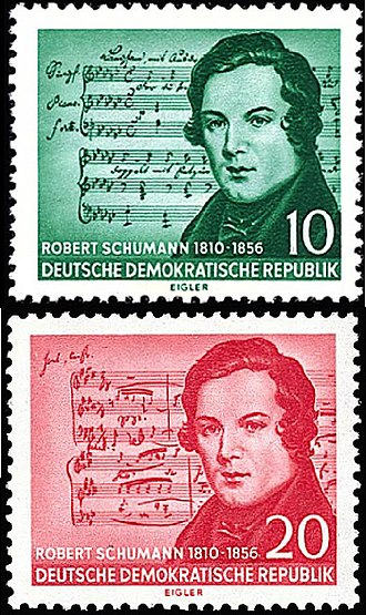 Postage stamp design error - An East German stamp in 1956 commemorated Robert Schumann, but the musical score in the background was actually by Franz Schubert (top stamp). The lower stamp is a corrected version.
