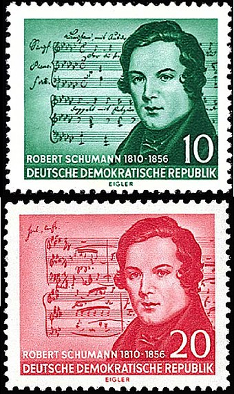 The East Germany 1956 Schumann/Schubert error: Schubert's music is on the top stamp, and Schumann's on the bottom GDR stamp Robert Schumann 1956-vertical.jpg
