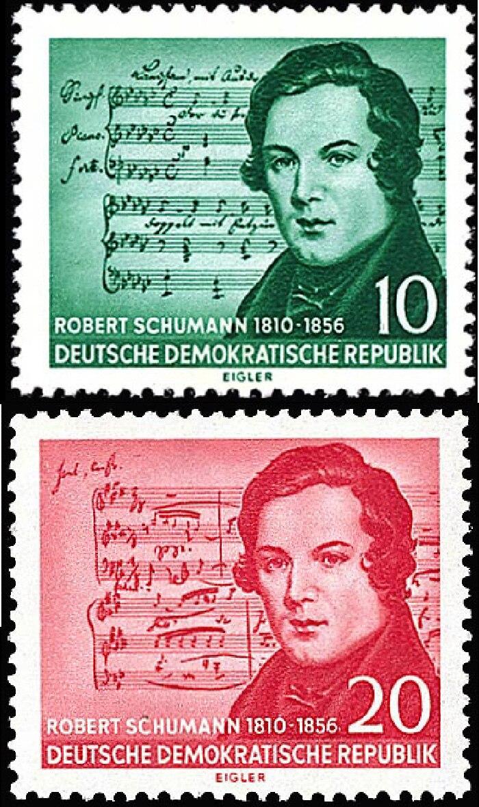 GDR stamp Robert Schumann 1956-vertical